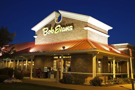 evans: Bob Evans Restaurant seen night time