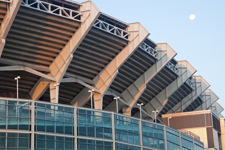 browns: Full moon over the Cleveland Browns stadium Editorial