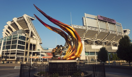 Cleveland Firefighters sculpture in front of the Browns stadium.