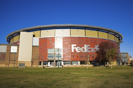 Memphis, Tennessee, USA - November 27, 2009: FedExForum in downtown of Memphis, Tennessee. Opened in 1994. Home to Memphis Grizzlies and to many other sport and cultural events. Seen fall morning. Editorial