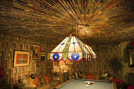 billard: Memphis, Tennessee, USA - November 27, 2009: Pool room in Graceland Mansion - home of Elvis Presley. Museum of the singer at the moment.