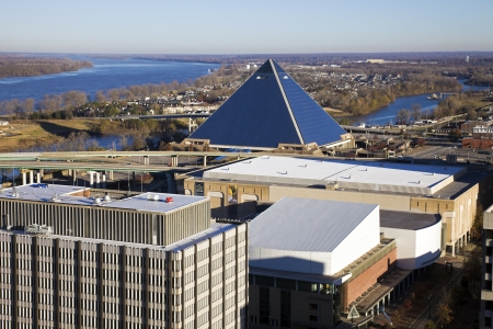 Memphis, Tennessee - November 28, 2009: Aerial panorama of Memphis, Tennessee. The Pyramid Arena and Mississippi River in the back.
