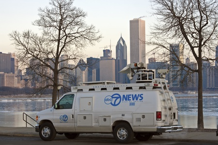 ABC7 News broadcasting from Solidarity Drive by Lake Michigan in downtown of Chicago