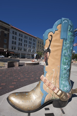 wyoming: Sculpture of the cowboy shoe in downtown of Cheyenne, Wyoming