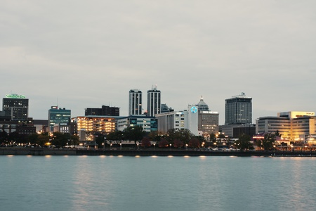 Peoria, Illinois, USA - October 13, 2008: Panorama of downtown Peoria, Illinois at dusk. Seen accross Illinois River. Redakční