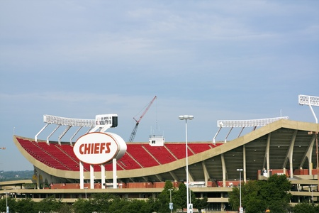 Kansas City, Missouri., USA June 1, 2008 Arrowhead Stadium in Kansas City, Missouri. The stadium was built in 1972 and has the capacity of 76000 people. Home to Kansas City Chiefs. Seen spring morning.