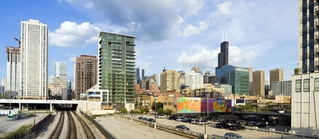 willis: CHICAGO, ILLINOIS, USA - JUNE 29, 2009: panorama of Chicago seen from North Halsted Avenue. Editorial