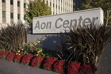 aon: Chicago, Illinois, USA Sign in front of AON Center - 200 E. Randolph Avenue in downtown Chicago. AON Center was built in 1972. The height of the roof is 1,136 ft - as of 2011 AON Center is the third highest building in Chicago.