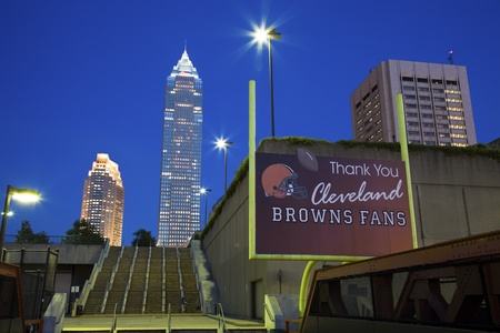 browns: Cleveland, Ohio, USA Skyline of Cleveland seen evening time with Key Tower in the center. Cleveland Browns thanking their fans on the banner. June 1, 2010