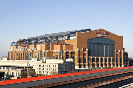 Lucas Oil Stadium in downtown of Indianapolis, Indiana. Home to Indianapolis Colts. The stadium has capacity of 63000 people. Indianapolis, Indiana, USA March 27, 2011