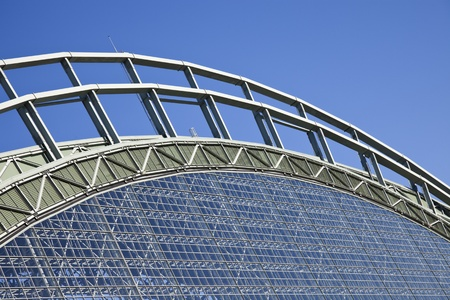 brewers: Roof of Miller Park seen with blue sky seen during cloudless summer day. Miller Park was built in 2001 and is a home for Milwaukee Brewers. The capacity of the stadium is 41,900. August 24, 2011