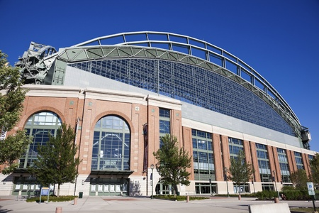 brewers: Miller Park seen with blue sky seen during cloudless summer day. Miller Park was built in 2001 and is a home for Milwaukee Brewers. The capacity of the stadium is 41,900. August 24, 2011