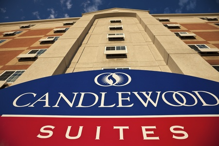 Schiller Park, Illinois, USA Looking up by the entrance to Candlewood Suites in Schiller Park, Illinois. Taken summer afternoon. The first location oof Candlewood Suites chain was opened in 1996. August 24, 2011 -