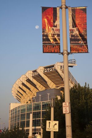 Cleveland Browns banner in front of the stadium. The stadium was built in 1999 and allows 73000 people.