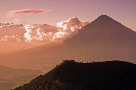 Silhouettes of distant  volcanos seen from Pacaya Volcano