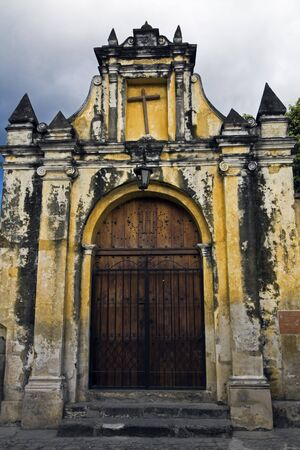 antigua: Gate to the Church - Antigua, Guatemala. Stock Photo