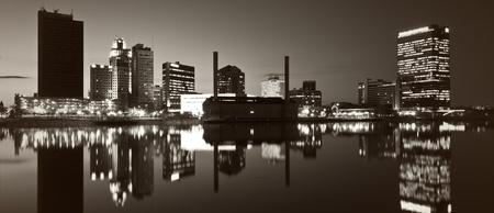 ohio: Panoramic Toledo - black and white photo of the city