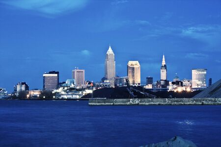 Cleveland after the sunset. Seen from west side. photo