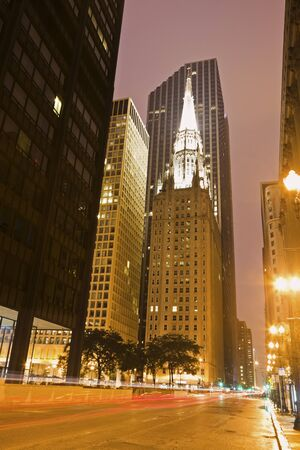 methodist: Clark Avenue in Chicago. First United Methodist Church at the Chicago Temple in the center.