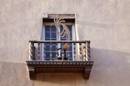 fe: House balcony. Pueblo Revival style. Santa Fe, New Mexico. Stock Photo