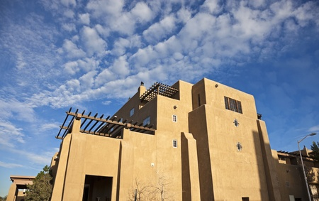 adobe pueblo: Pueblo Revival - architecure of Santa Fe, New Mexico.