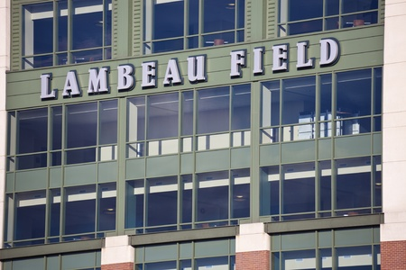 Close view of Lambeau Field in Green Bay, Wisconsin. The stadium is the second largest in Wisconsin. Home to the NFL team Green Bay Packers. The stadium was opened in 1957. Green Bay, Wisconsin, USA  October 15, 2011