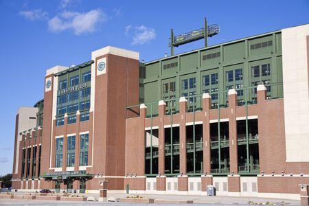 Lambeau Field in Green Bay, Wisconsin. The stadium is the second largest in Wisconsin. Home to the NFL team Green Bay Packers. The stadium was opened in 1957. Green Bay, Wisconsin, USA  October 15, 2011