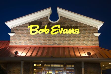 evans: Bob Evans Restaurant seen night time in Canton, Ohio. Bob Evans is a chain of American family dining restaurant. It was founded in 1953 in Ohio. Canton, Ohio, USA July 15, 2011  Editorial