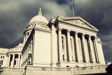 state of wisconsin: State Capitol Building in Madison before the storm. Summer time.