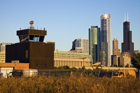 control tower: Chicago from the old airport  - old control tower on the left.