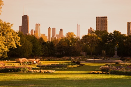 Lincoln Park during fall - Chicago, Illinois, USA. Taken with tobacco graduated filter.
