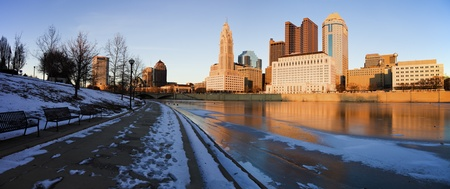 columbus: Winter in Columbus, Ohio - panoramic view of the city