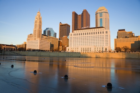 Columbus, Ohio - downtown seen during winter afternoon accross the river.