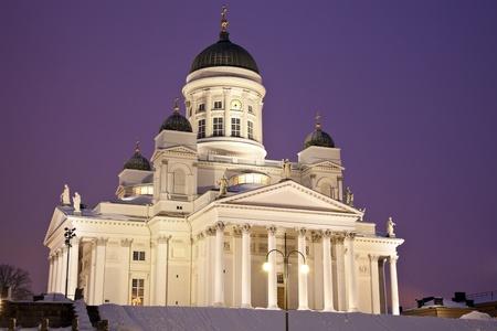 Helsingin tuomiokirkko (Suurkirkko) - the Lutheran Cathedral seen early in the morning. Publikacyjne