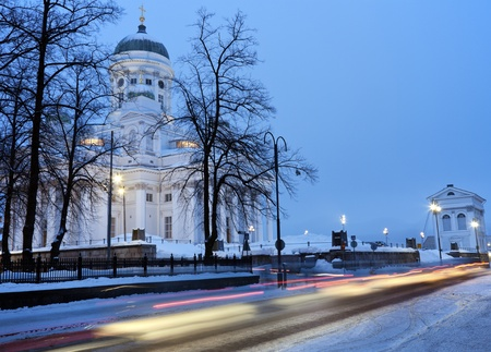 Morning traffic by Lutheran Cathedral in Helsinki