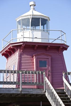 lake michigan lighthouse: Dos r�os Faro en Wisconsin, EE.UU..