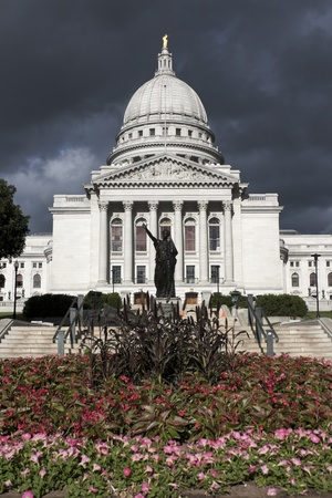 State Capitol Building in Madison before the storm. Summer time.