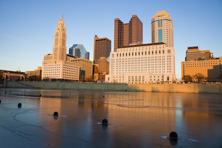 ohio: Columbus, Ohio - downtown seen during winter afternoon accross the river.