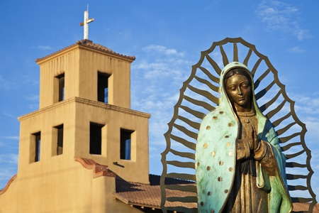 Mary Of Guadalupe in front of Sanctuary Of Guadalupe, Santa Fe, New Mexico