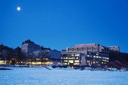 university of wisconsin: Madison - the University area - seen from frozen Lake Mendota