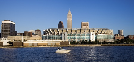 Downtonw of Cleveland, Ohio seen from Lake Erie Stock Photo