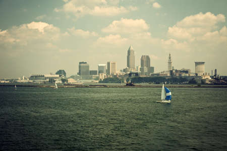 erie: Sailing Lake Erie with Cleveland, Ohio view Stock Photo