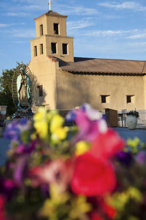 Flowers in front of the Sanctuary Of Guadalupe, Santa Fe, New Mexico