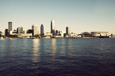 erie: Downtonw of Cleveland, Ohio seen from Lake Erie Stock Photo