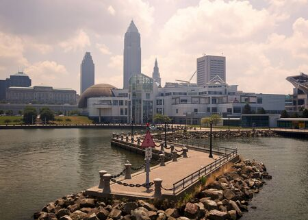 erie: Downtonw of Cleveland, Ohio seen from Lake Erie Editorial