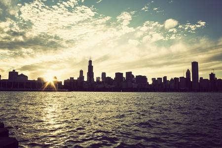 windy city: Winter sun setting over the skyline of Chicago, Illinois