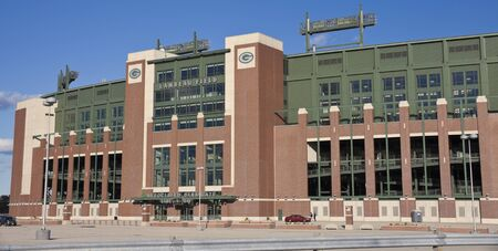 Green Bay, Wisconsin, USA - October 15, 2011: Panoramic view of Lambeau Field in Green Bay, Wisconsin. The stadium is the second largest in Wisconsin. Home to the NFL team Green Bay Packers. The stadium was opened in 1957. Seen late fall afternoon. Editöryel