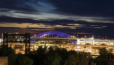 Bridges of Cleveland seen during dramatic sunset photo