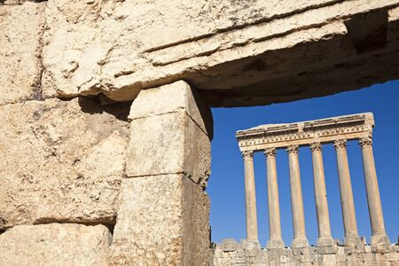 heliopolis: Baalbek ruins - columns seen in the ancient window. Seen morning time.