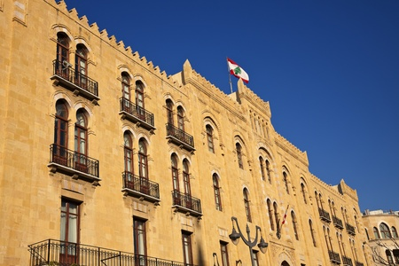 beirut: Beirut architecture - downtown building with Lebanon flag